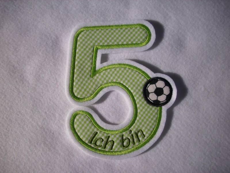 - süsse Zahl 5, Geburtstagszahl für kleine Fussballfans ★ Applikation : ★ Aufnäher : ★   - süsse Zahl 5, Geburtstagszahl für kleine Fussballfans ★ Applikation : ★ Aufnäher : ★