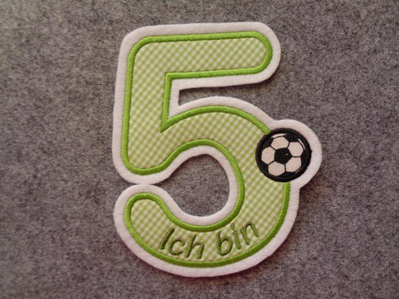 Kleinesbild - süsse Zahl 5, Geburtstagszahl für kleine Fussballfans ★ Applikation : ★ Aufnäher : ★