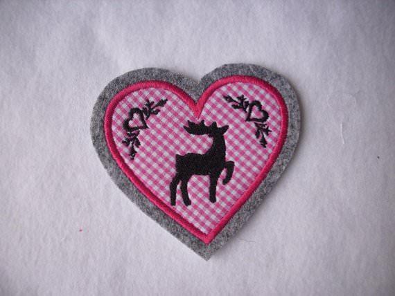 - Herz ♥ mit gest. Hirsch und Ornamenten ♥ Aufnäher/Applikation ♥ pink  - Herz ♥ mit gest. Hirsch und Ornamenten ♥ Aufnäher/Applikation ♥ pink