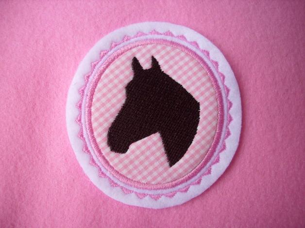 - Pferdekopf gestickt ☆ Aufnäher ☆ rosa/weiss/braun  - Pferdekopf gestickt ☆ Aufnäher ☆ rosa/weiss/braun