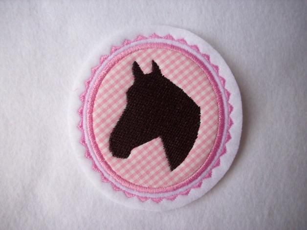 Kleinesbild - Pferdekopf gestickt ☆ Aufnäher ☆ rosa/weiss/braun