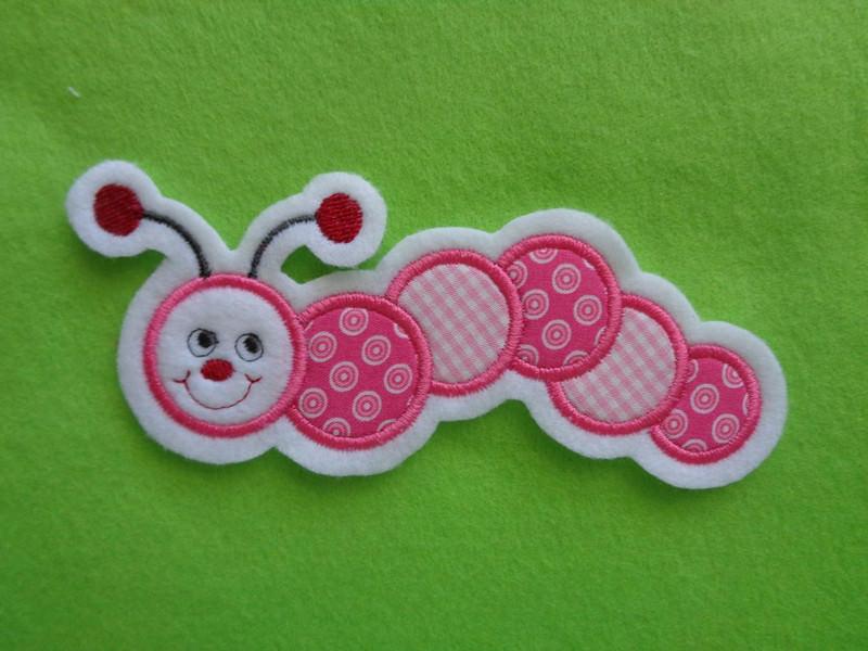 Kleinesbild - Süsse Raupe rosa, pink☆ Applikation ☆ Aufnäher (Kopie id: 100011382)