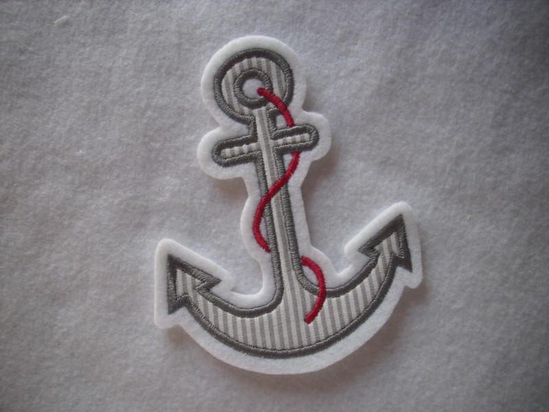 - ♥ Anker ♥ Applikation ♥ Aufnäher ♥ maritim ♥ grau - ♥ Anker ♥ Applikation ♥ Aufnäher ♥ maritim ♥ grau