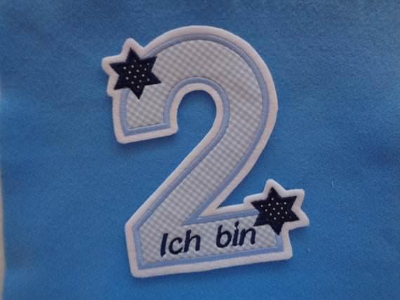 Kleinesbild - süsse Zahl , Geburtstagszahl mit Sternchen ★ Applikation : ★ Aufnäher : ★