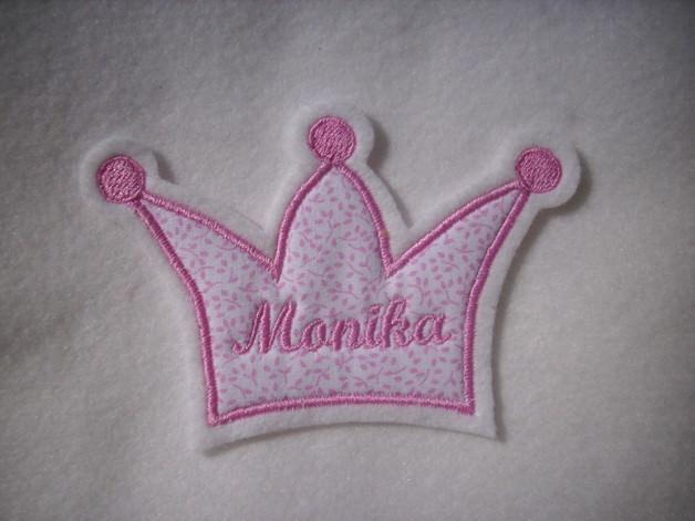 Kleinesbild - Krone mit Wunschnamen ♥ Aufnäher ♥ Applikation ♥ rosa