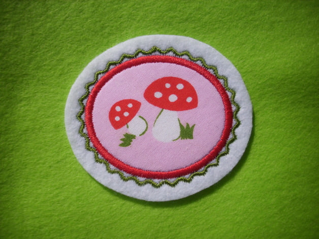 Kleinesbild - Mini-Button Pilz ♥ Applikation ♥ Aufnäher ♥