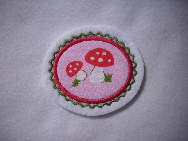 - Mini-Button Pilz ♥ Applikation ♥ Aufnäher ♥   - Mini-Button Pilz ♥ Applikation ♥ Aufnäher ♥