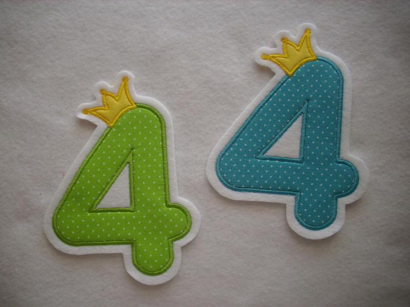 - Applikation ♥  Geburtstagszahl  4 ♥  Aufnäher ♥ grün oder türkis  - Applikation ♥  Geburtstagszahl  4 ♥  Aufnäher ♥ grün oder türkis