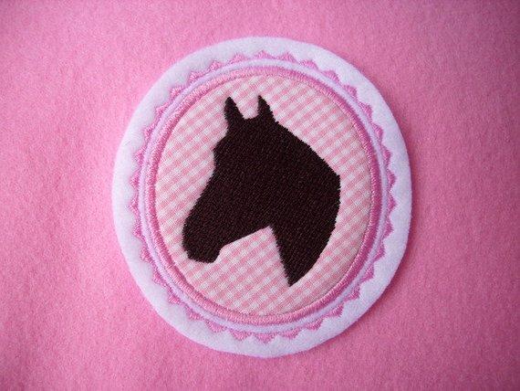 Kleinesbild - Pferdekopf gestickt ☆ Aufnäher ☆ rosa/pink/weiss/braun