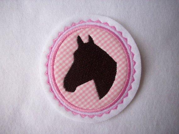 - Pferdekopf gestickt ☆ Aufnäher ☆ rosa/pink/weiss/braun  - Pferdekopf gestickt ☆ Aufnäher ☆ rosa/pink/weiss/braun