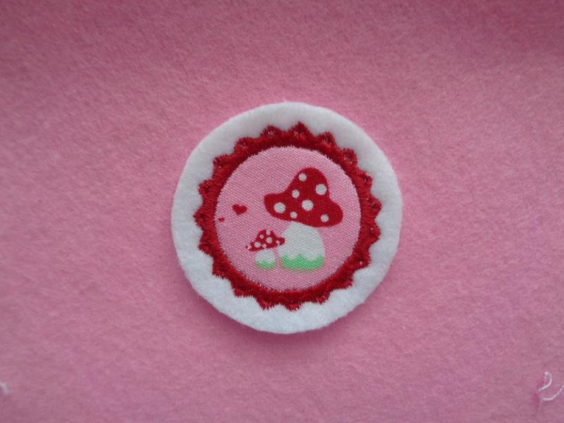 Kleinesbild - Mini-Button Pilz ♥ Applikation ♥ Aufnäher ♥  rosa (Kopie id: 100169878)