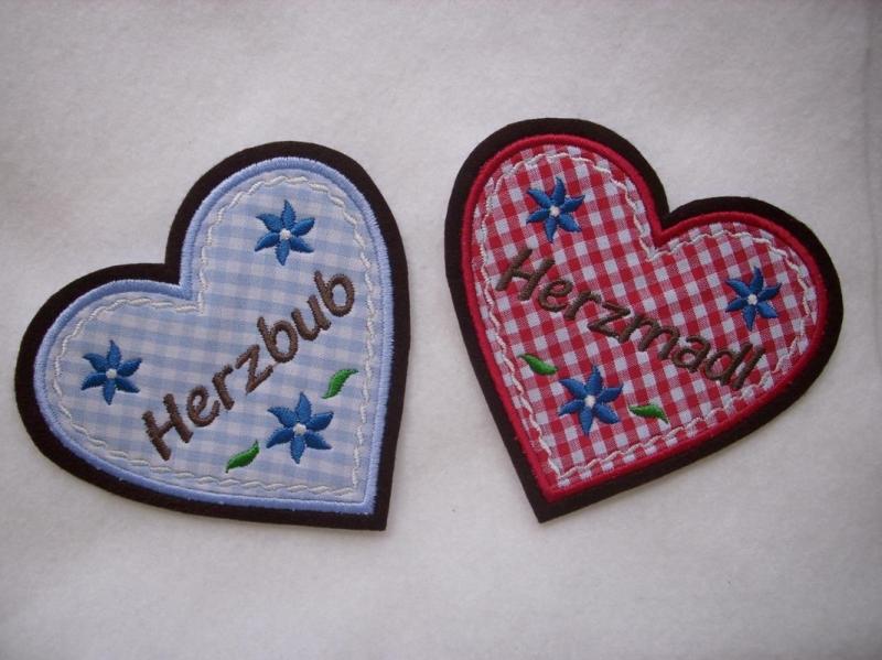 - Aufnäher ♥   Applikation ♥ Herz  Herzmadl oder Herzbub - Aufnäher ♥   Applikation ♥ Herz  Herzmadl oder Herzbub