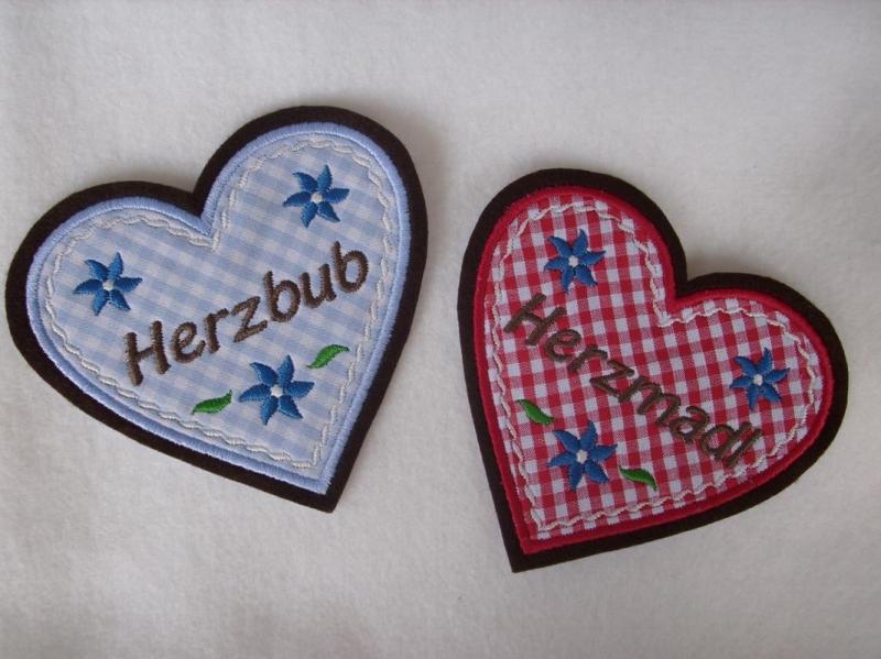 Kleinesbild - Aufnäher ♥   Applikation ♥ Herz  Herzmadl oder Herzbub