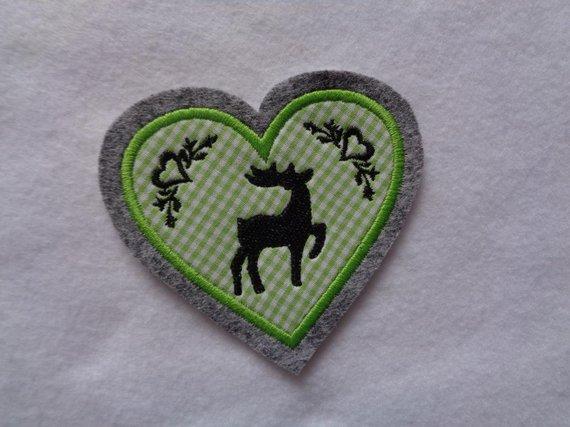 Kleinesbild - Herz  mit gest. Hirsch und Ornamenten ♥ Aufnäher ♥ Applikation (Kopie id: 100096742)