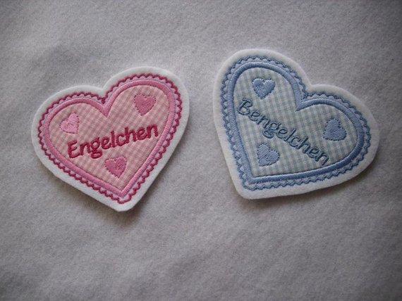 - hübsche Herz-Applikation  ♡ mit Wunschnamen oder -/text  ♡ rosa oder hellblau - hübsche Herz-Applikation  ♡ mit Wunschnamen oder -/text  ♡ rosa oder hellblau