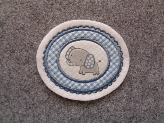 Kleinesbild - süsse Aufnäher mit kleinem Elefanten ♥ Applikation ♥