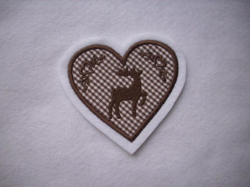 - Herz  mit gest. Hirsch und Ornamenten ♥ Aufnäher ♥ Applikation - Herz  mit gest. Hirsch und Ornamenten ♥ Aufnäher ♥ Applikation