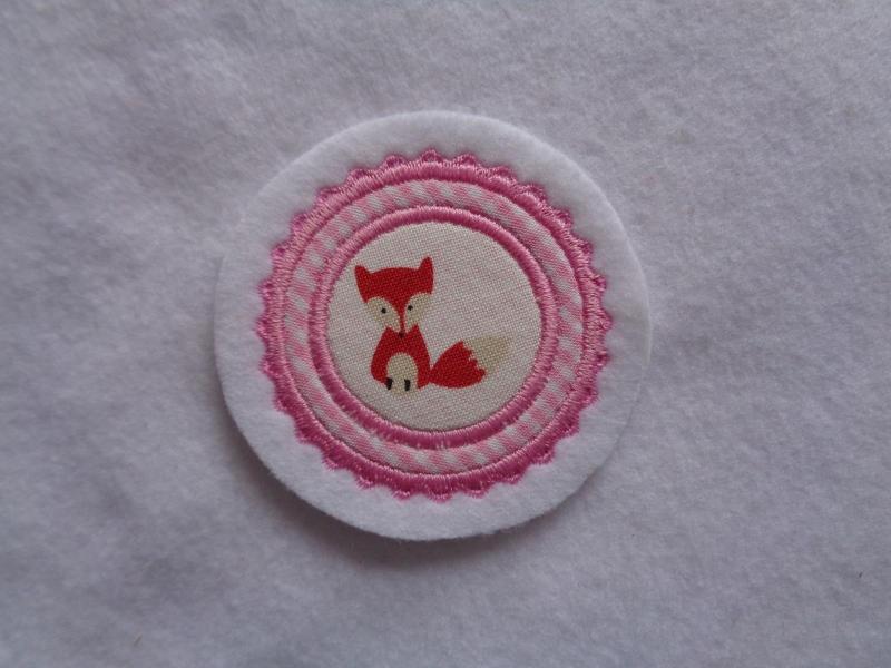 - Mini-Button Fuchs ♥ Applikation ♥ Aufnäher♥ rosa - Mini-Button Fuchs ♥ Applikation ♥ Aufnäher♥ rosa