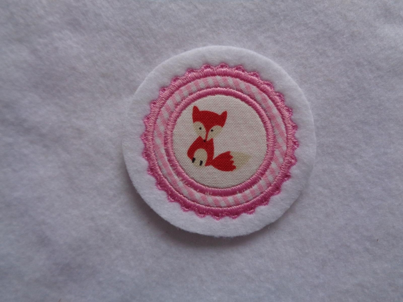 Kleinesbild - Mini-Button Fuchs ♥ Applikation ♥ Aufnäher♥ rosa
