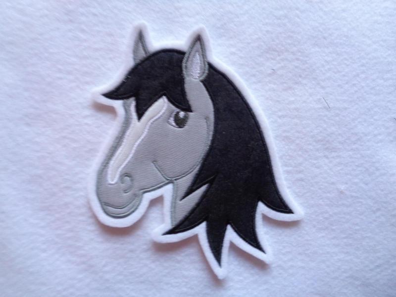 Kleinesbild - Applikation ♥ Pferdekopf ♥ Aufnäher ♥ grau ♥  (Kopie id: 100141935)