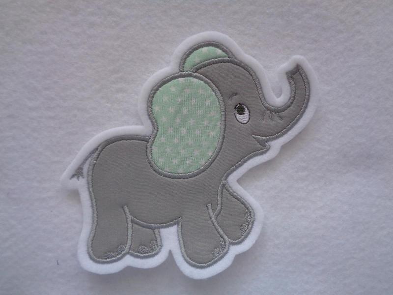 Kleinesbild - niedlicher Elefant ♥ grau ♥ Applikation ♥ Aufnäher ♥