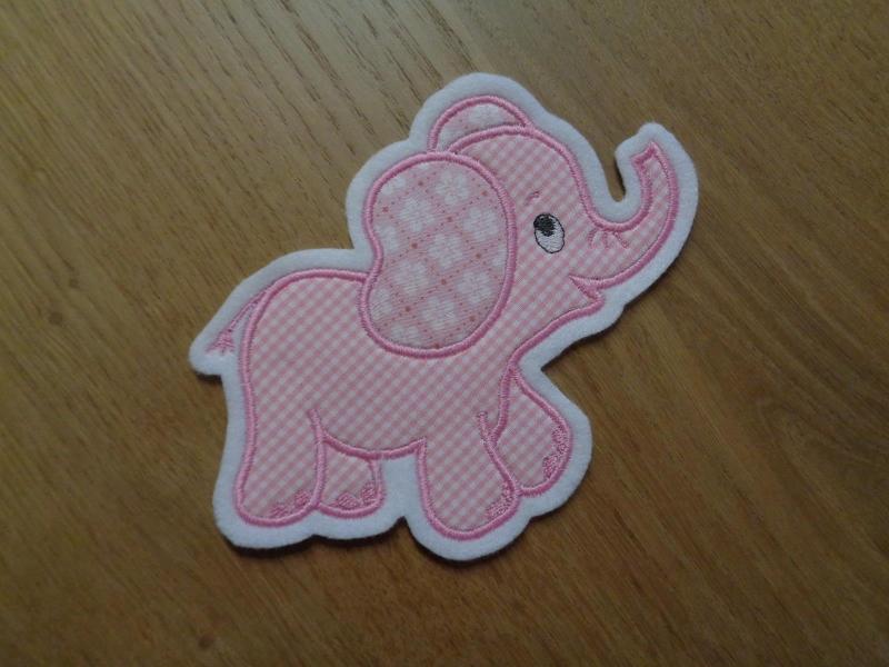Kleinesbild - niedlicher Elefant ♥ rosa ♥ Applikation ♥ Aufnäher ♥