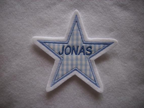 Kleinesbild - Stern mit gesticktem Namen  max. 7 Buchstaben ☆ Aufnäher ☆