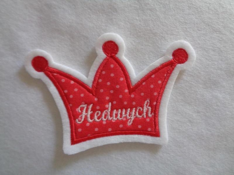 Kleinesbild - Krone mit Wunschnamen ♥ Aufnäher ♥ Applikation ♥ rot/rosa