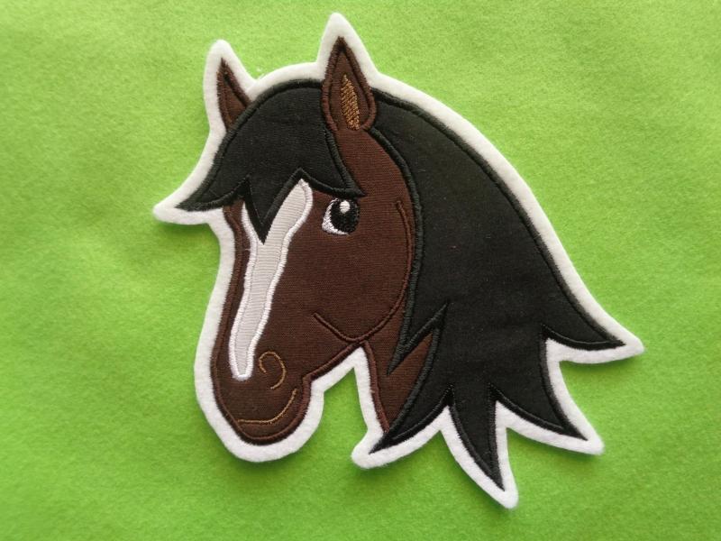 Kleinesbild - Applikation ♥ Pferdekopf ♥ braun ♥ Aufnäher oder zum Aufbügeln