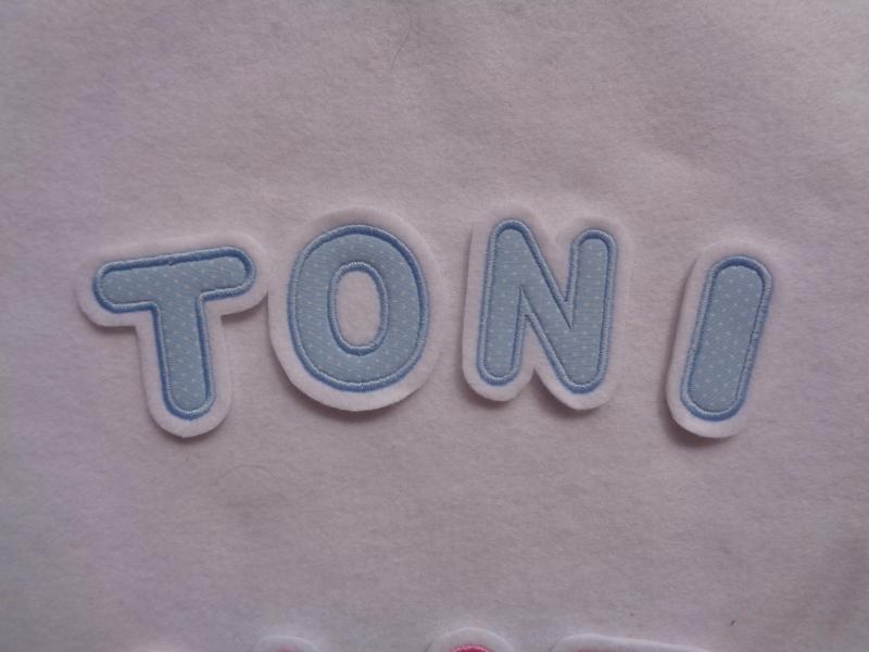 Kleinesbild - Applikation Buchstabe ca. 4,5 cm  rosa oder hellblau ☆Aufnäher