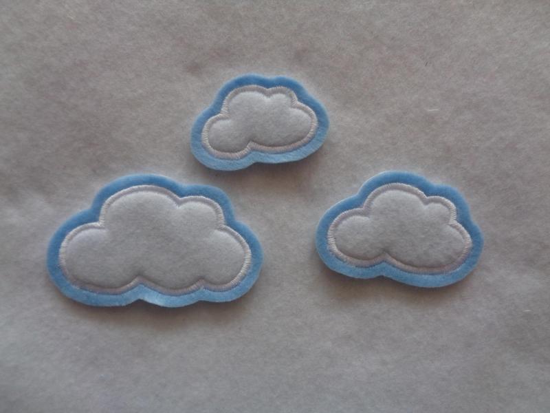 - Wolken-Set 3-tlg. ☆ Applikation  ☆ Aufnäher   - Wolken-Set 3-tlg. ☆ Applikation  ☆ Aufnäher