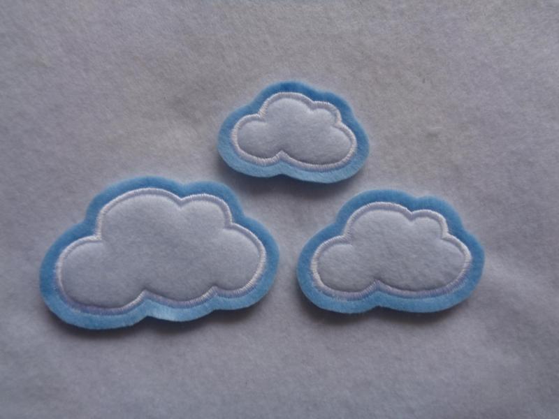 Kleinesbild - Wolken-Set 3-tlg. ☆ Applikation  ☆ Aufnäher
