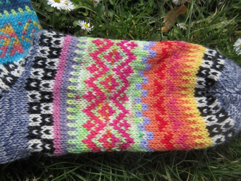 Kleinesbild - Bunte Fair Isle Socken Gr. 37/38 - gestrickte Socken in nordischen Fair Isle Mustern  (Kopie id: 100253939)