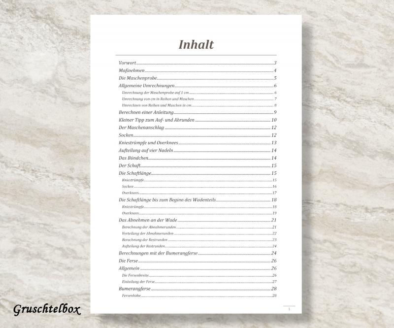 Kleinesbild - Formelsammlung für das Stricken von Socken, Kniestrümpfen und Overknees, PDF Datei