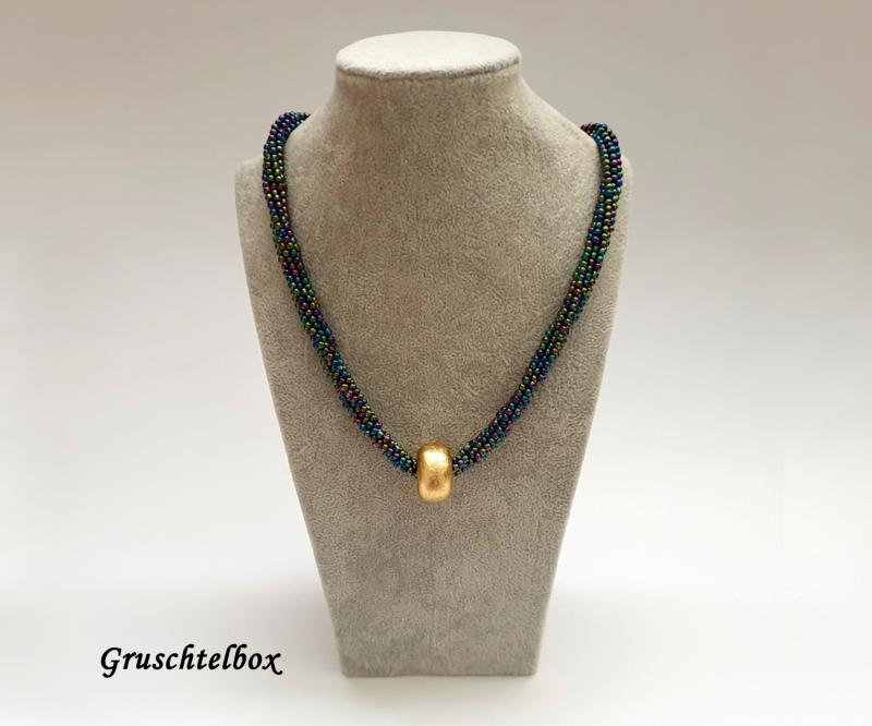- Kumihimo Halskette mit Schiebeperle, 48 cm, regenbogenfarben glänzend - Kumihimo Halskette mit Schiebeperle, 48 cm, regenbogenfarben glänzend