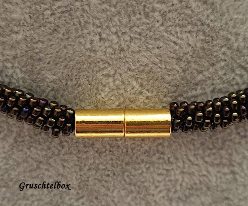 Kleinesbild - Kumihimo Halskette , 58 cm, grünmetallic gold gemustert