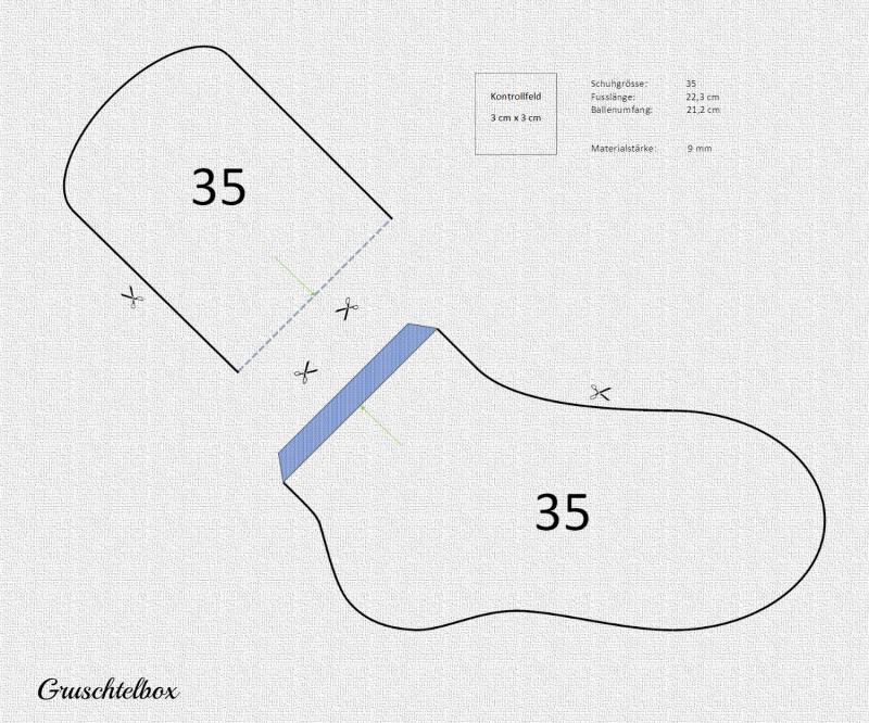 Kleinesbild - Schablonen für Sockenbretter, Strickschablonen für Damensocken, Grösse 35 - 41, PDF Datei