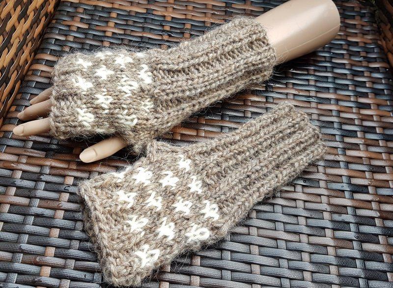 Kleinesbild - Warme Armstulpen aus Islandwolle***beige-weiß***onesize