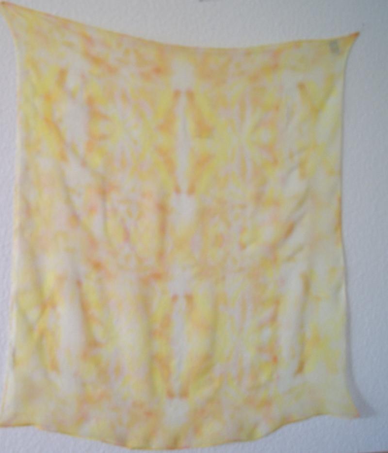 Kleinesbild - 15 //  fröhliches Chiffontuch - ca.90x90cm - Gelbtöne  - 100% Seide
