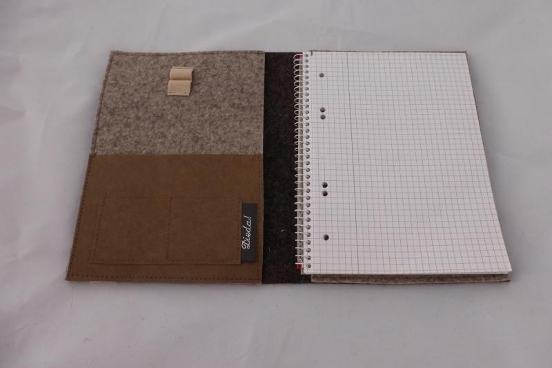 Kleinesbild - schicke Schreibmappe A5, aus Wollfilz incl. Schreibblock, braun, zweifarbiger Filz, bestickt, Edelweiß, handgemacht, dieda