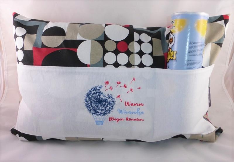 Kleinesbild - Pusteblume, Wünsche, Sofakissen, Dekokissen 40 x 60 cm mit 3 Taschen für Buch, Fernbedienung, handgemacht von Dieda