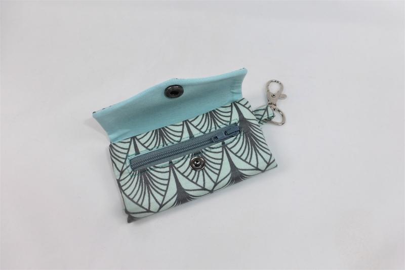 Kleinesbild - schickes Schlüsselmäppchen mit Reißverschlussfach, Schlüsseletui, beschichtete Baumwolle, mint, Portkey, Wittsich, Dieda