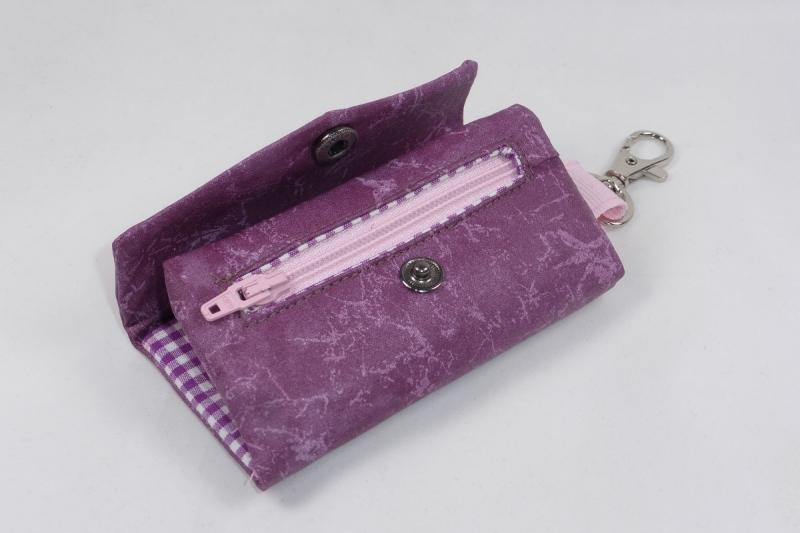 Kleinesbild - Praktisches Schlüsselmäppchen mit Reißverschlussfach, Schlüsseletui, beschichtete Baumwolle, weinrot, Portkey, Wittsich, Dieda