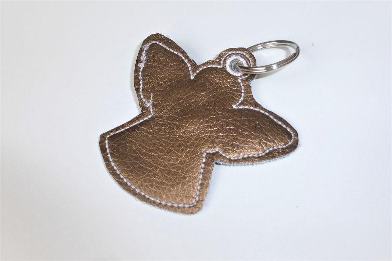 Kleinesbild - 1 Schlüsseanhänger aus goldenem Kunstleder, Engel, ein kleines Geschenk zur Kommunion oder Konfirmation
