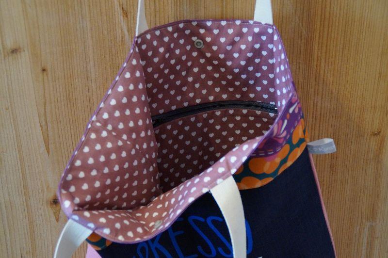Kleinesbild - Handgemachte Schultertasche/ Shopper in fröhlichem Design