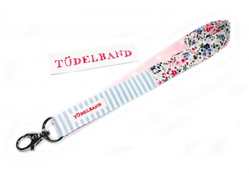 Kleinesbild - Schlüsselband Schlüsselanhänger...kleines Tüdelband... hellblau...rosa...geblümt