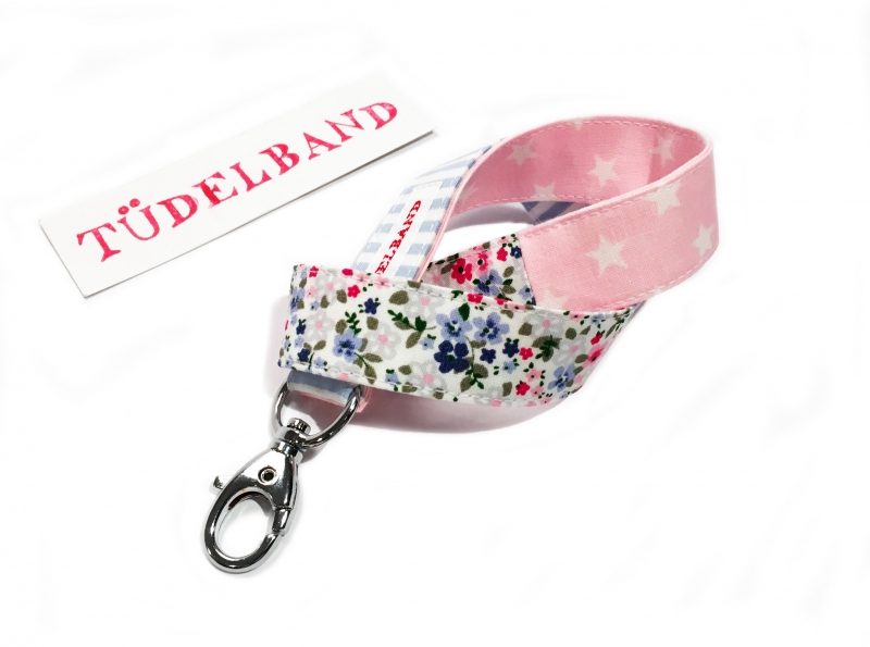 - Schlüsselband Schlüsselanhänger...kleines Tüdelband... hellblau...rosa...geblümt - Schlüsselband Schlüsselanhänger...kleines Tüdelband... hellblau...rosa...geblümt
