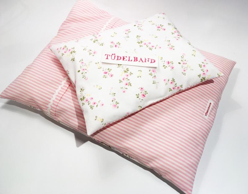 Kleinesbild - Puppenbettwäsche ...Blümchen... rosa Streifen/rosagelb Geblümt ♡