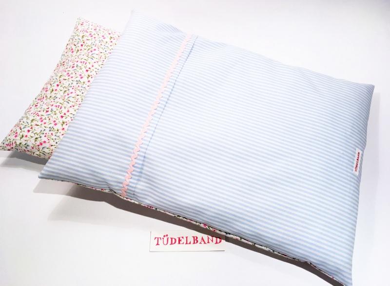 Kleinesbild - Puppenbettwäsche ...Blümchen... hellblau Streifen/rosapink Geblümt ♡