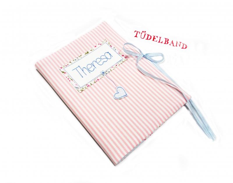 - U-Hefthülle Mutterpasshülle Hefthülle...Herzchen an der Leine...♡... rosa...geblümt - U-Hefthülle Mutterpasshülle Hefthülle...Herzchen an der Leine...♡... rosa...geblümt